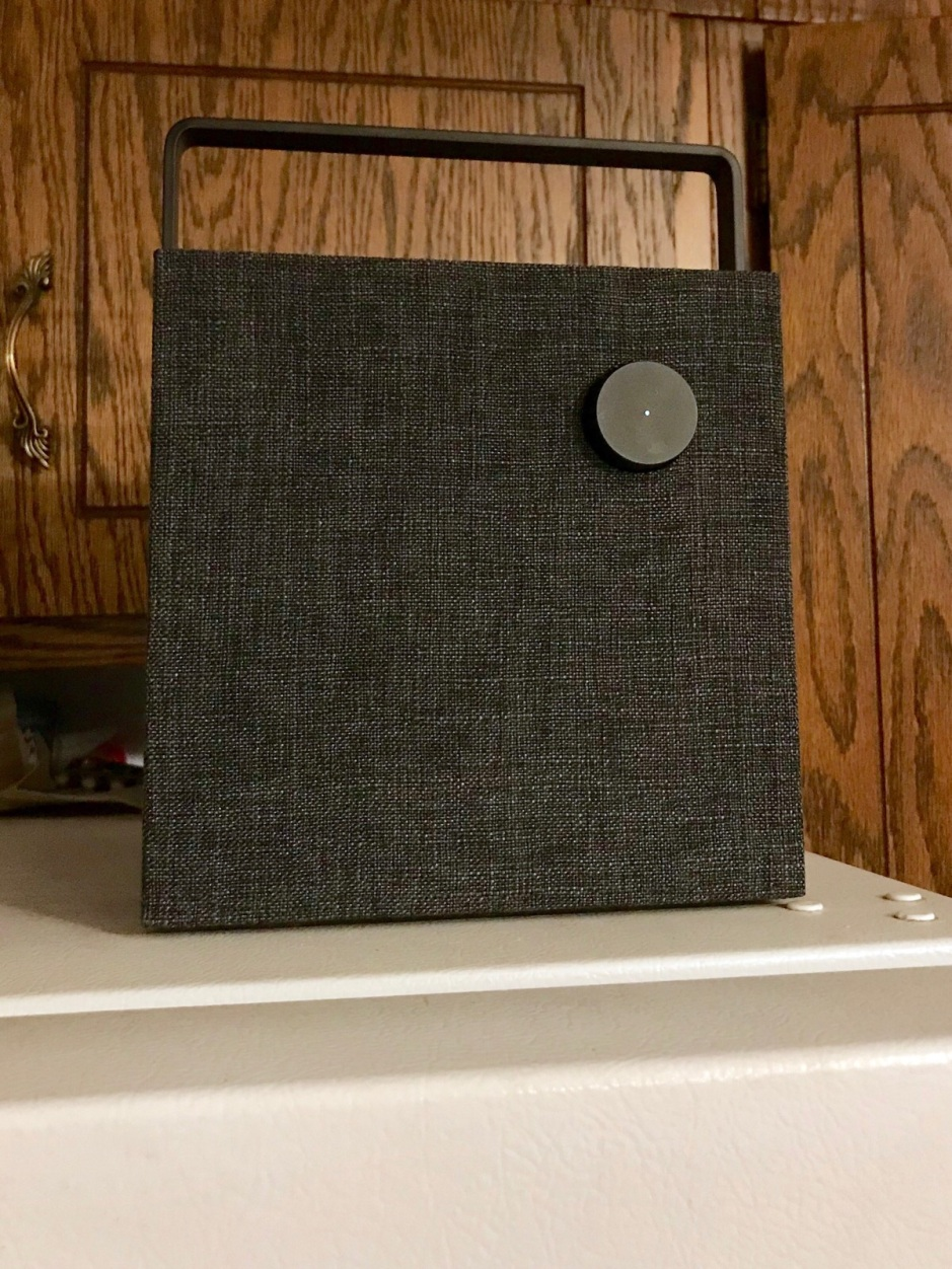 The speaker fits very nicely on top of our refigerator